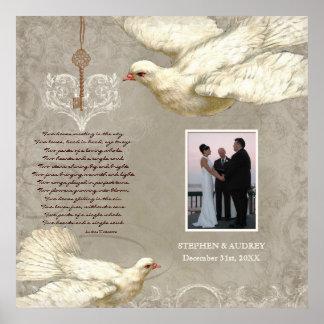 Key to my Heart Dove Wedding Gift Photograph Print