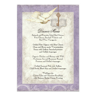 Key to my Heart, Doves Swirl Wedding Dinner Menu Card