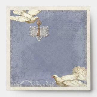 Key to my Heart, Doves Wedding Invitation Envelope