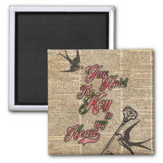 Key to my heart Flowers & Swallows Dictionary Art 2 Inch Square Magnet