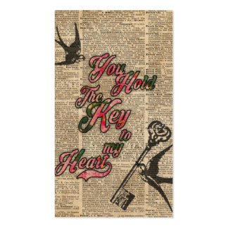 Key to my heart Flowers & Swallows Dictionary Art Business Card