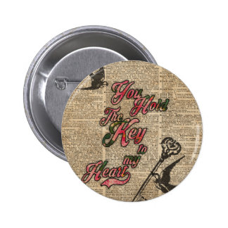 Key to my heart Flowers & Swallows Dictionary Art Button