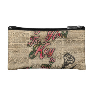 Key to my heart Flowers & Swallows Dictionary Art Makeup Bag