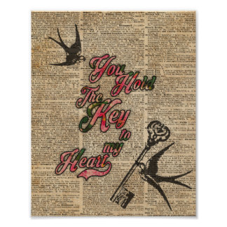 Key to my heart Flowers & Swallows Dictionary Art Poster
