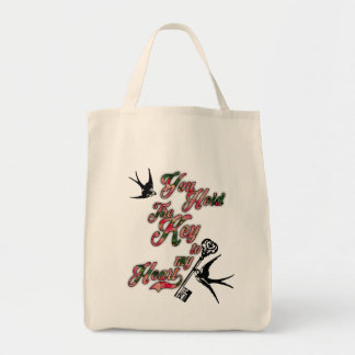 Key to my heart Flowers & Swallows Dictionary Art Tote Bag