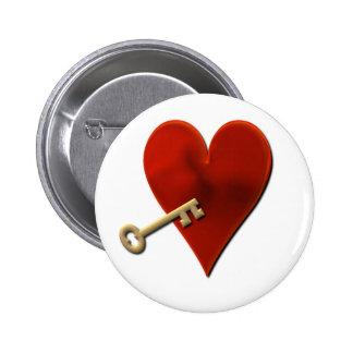 Key to My Heart Round Pin