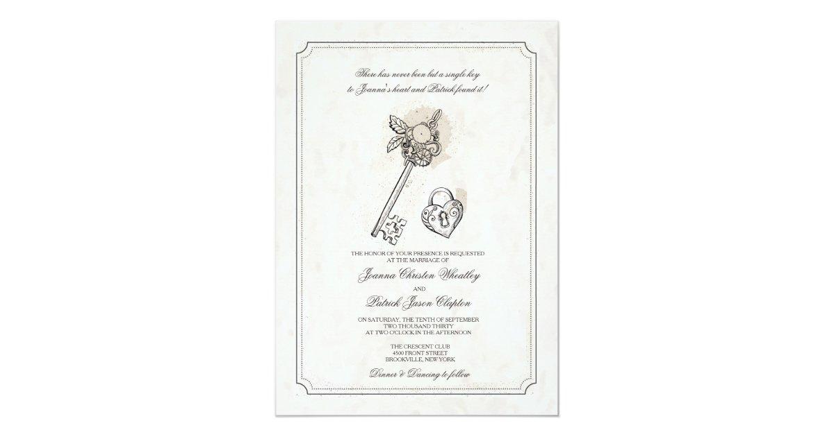 Key Themed Wedding Invitations: Key To My Heart Wedding Invitations