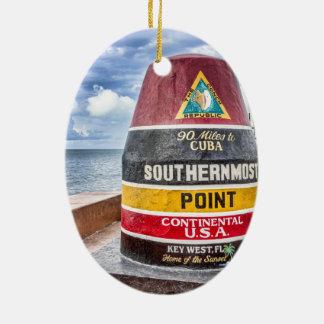 Key West adorna Adorno Navideño Ovalado De Cerámica