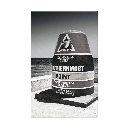 Key West al marcador más situado más al sur de la Impresión En Lona