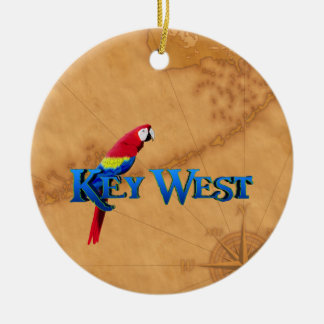 Key West And Map Ceramic Ornament