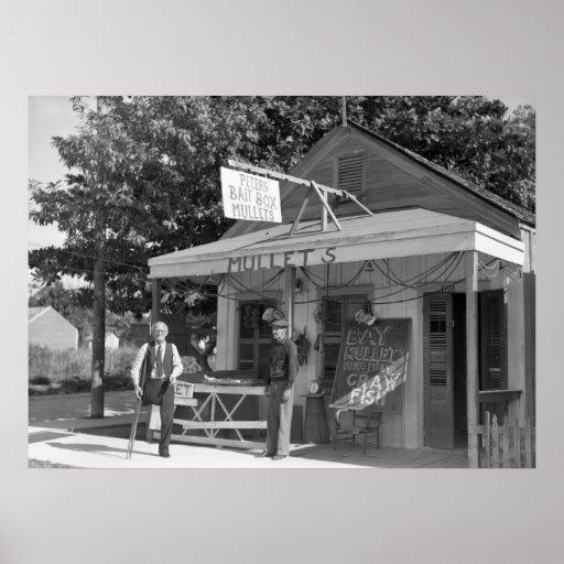 Key West Bait Shop, 1938 Poster