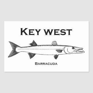 Key West Barracuda Rectangular Sticker