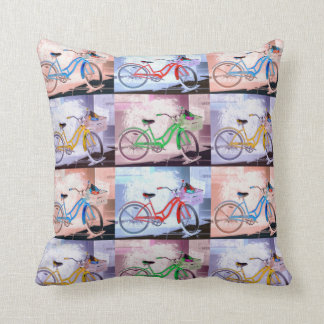 Key West Bicycle Pattern Throw Pillow