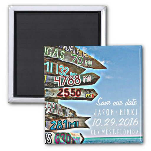 Key West Destination Wedding Save The Date 2 Inch Square Magnet Zazzle