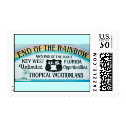 Key West End Of The Rainbow Sign Postage Stamp