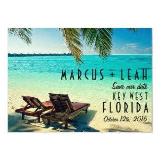 """Key West, fecha de la reserva del boda del destino Invitación 4.5"""" X 6.25"""""""