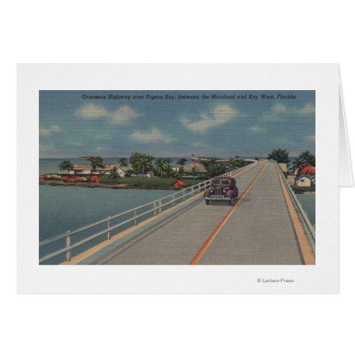 Key West, FL - carretera entre el continente y las Tarjeta De Felicitación