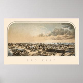 Key West FL Panoramic Map 1855 Print