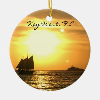 Key West, FL Sailboat Sunset Ceramic Ornament