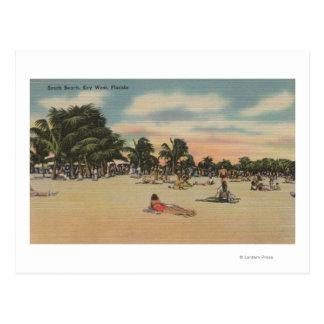 Key West, FL - vista de Beath del sur con los Tarjeta Postal