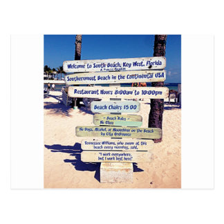 key west florida beach sign postcard