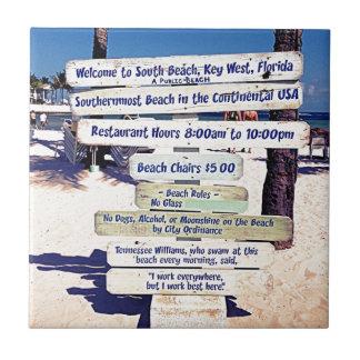 key west florida beach sign tile