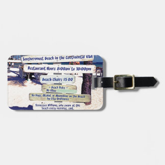 key west florida beach sign travel bag tags