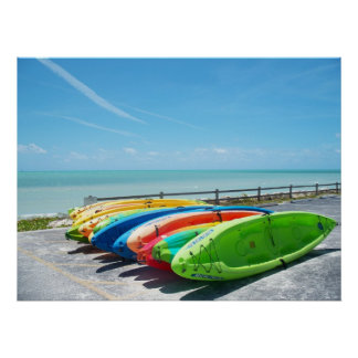 Key West Florida Kayaks colors Ocean Beach Poster