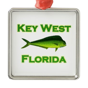 USA Themed Key West Florida Mahi Mahi Metal Ornament