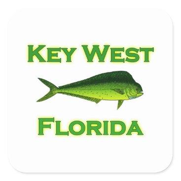 USA Themed Key West Florida Mahi Mahi Square Sticker