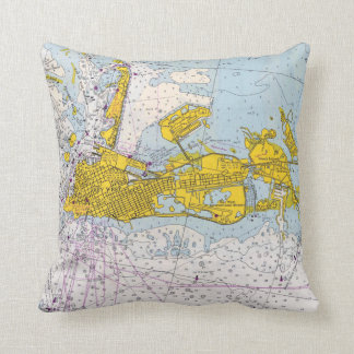 Key West Florida nautical chart map Throw Pillow