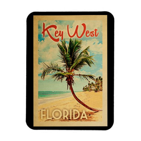 Key West Florida Palm Tree Beach Vintage Travel Magnet