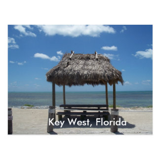 Key West Florida Tiki Hut Ocean Sea View Postcard