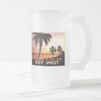 KEY WEST FROSTED GLASS BEER MUG