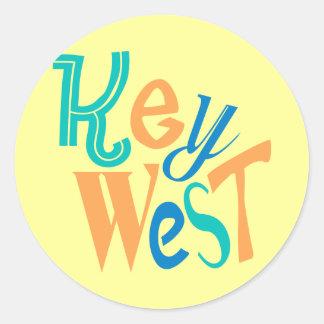 Key West fun typographic design Classic Round Sticker