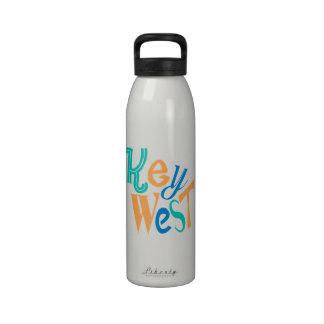 Key West fun typographic design Reusable Water Bottles