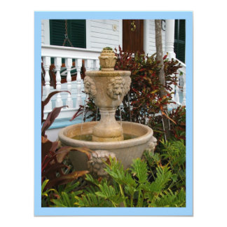 "Key West Garden Fountain Invitation 4.25"" X 5.5"" Invitation Card"
