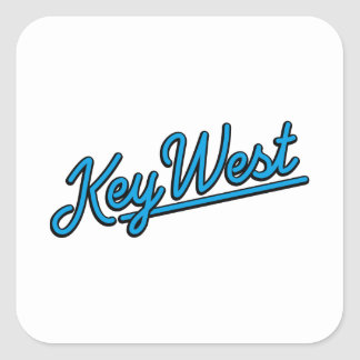 Key West in cyan Square Stickers