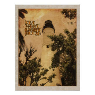 Key West Lighthouse Vintage Photo Poster