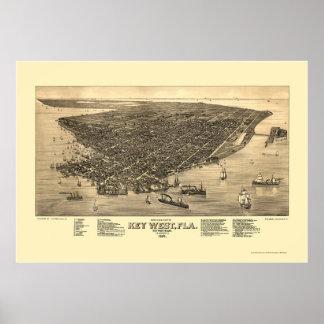 Key West, mapa panorámico de FL - 1884 Impresiones