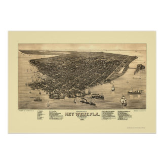 Key West, mapa panorámico de FL - 1884 Póster