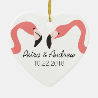 Key West Modern Whimsy Couple's Double-Sided Heart Ceramic Christmas Ornament