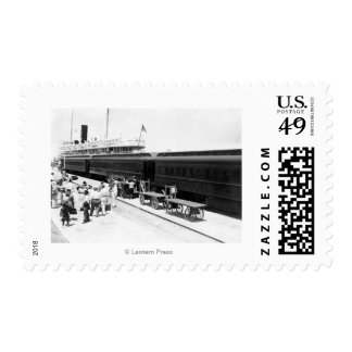 Key West Railroad Station loading Ship from Cuba Stamp