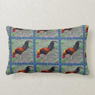 Key West Rooster Pattern Lumbar Pillow
