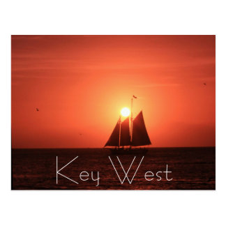 Key West, Sailboat at Sunset Postcard