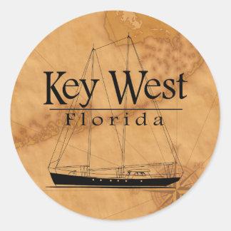 Key West Sailing Round Sticker