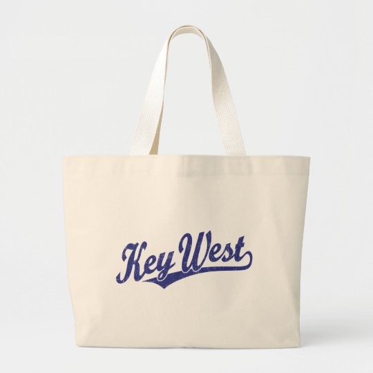 Key West script logo in blue distressed Large Tote Bag