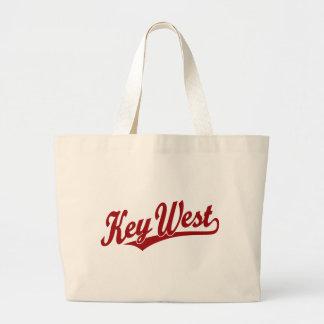 Key West script logo in red Canvas Bags