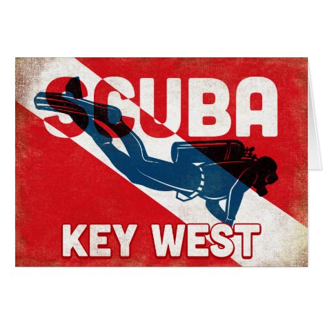 Key West Scuba Diver - Blue Retro
