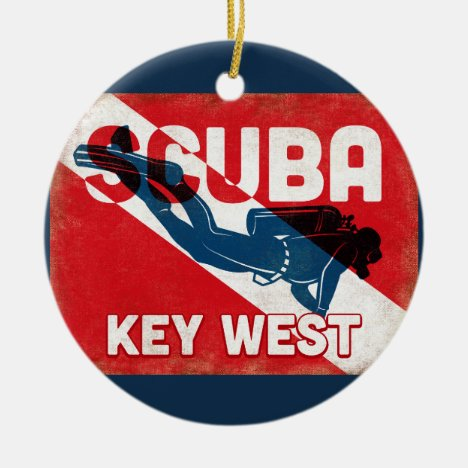 Key West Scuba Diver - Blue Retro Ceramic Ornament